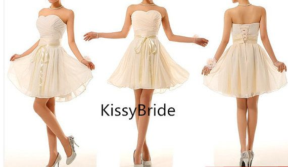 Short bridesmaid dresses  chiffon bridesmaid dress by KissyBride, $89.00