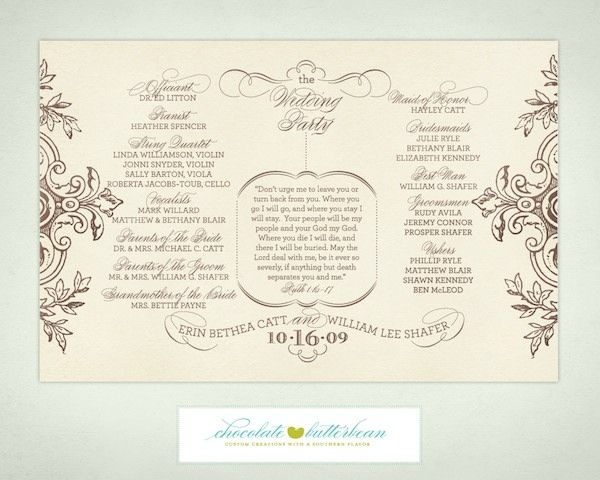 Free Printable Wedding Programs Templates  Wedding Program That