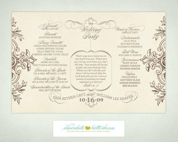 free printable wedding programs templates – Printable Program Templates