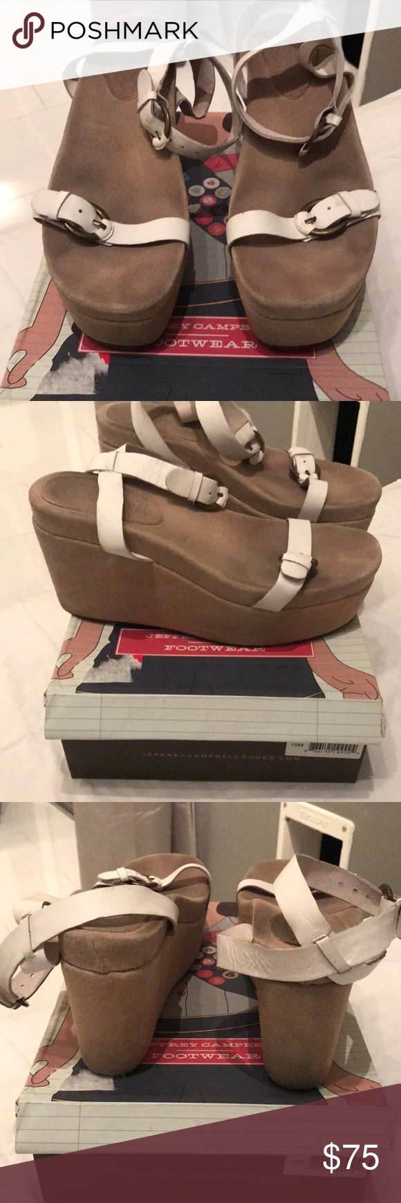 Jeffrey Campbell White Leather Moochie Sandal White Leather Leather Jeffrey Campbell Shoes