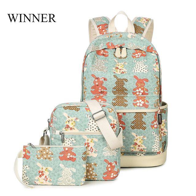 675786fce0 Special price WINNER Brand Backpack 3pcs Set Rabbit Pattern Printing  Backpack Cute Backpacks Female School Backpack For Teenage Girls Mochilas  just only ...