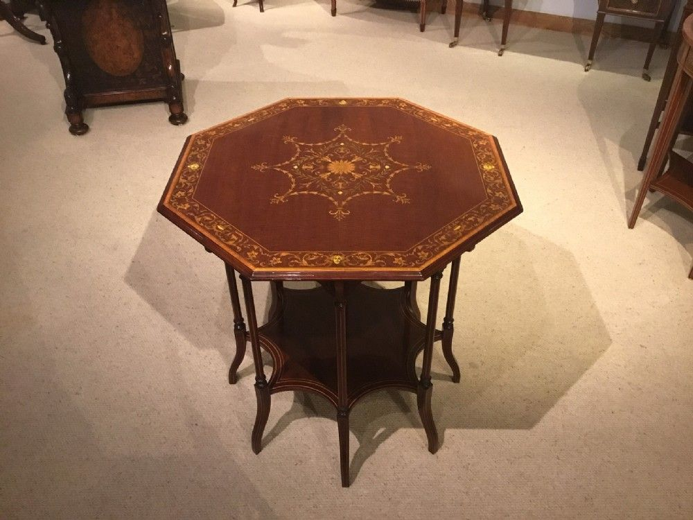 A FINE QUALITY EDWARDIAN PERIOD OCTAGONAL MARQUETRY INLAID TABLE BY EDWARDS ROBERTS OF LONDON #edwardianperiod