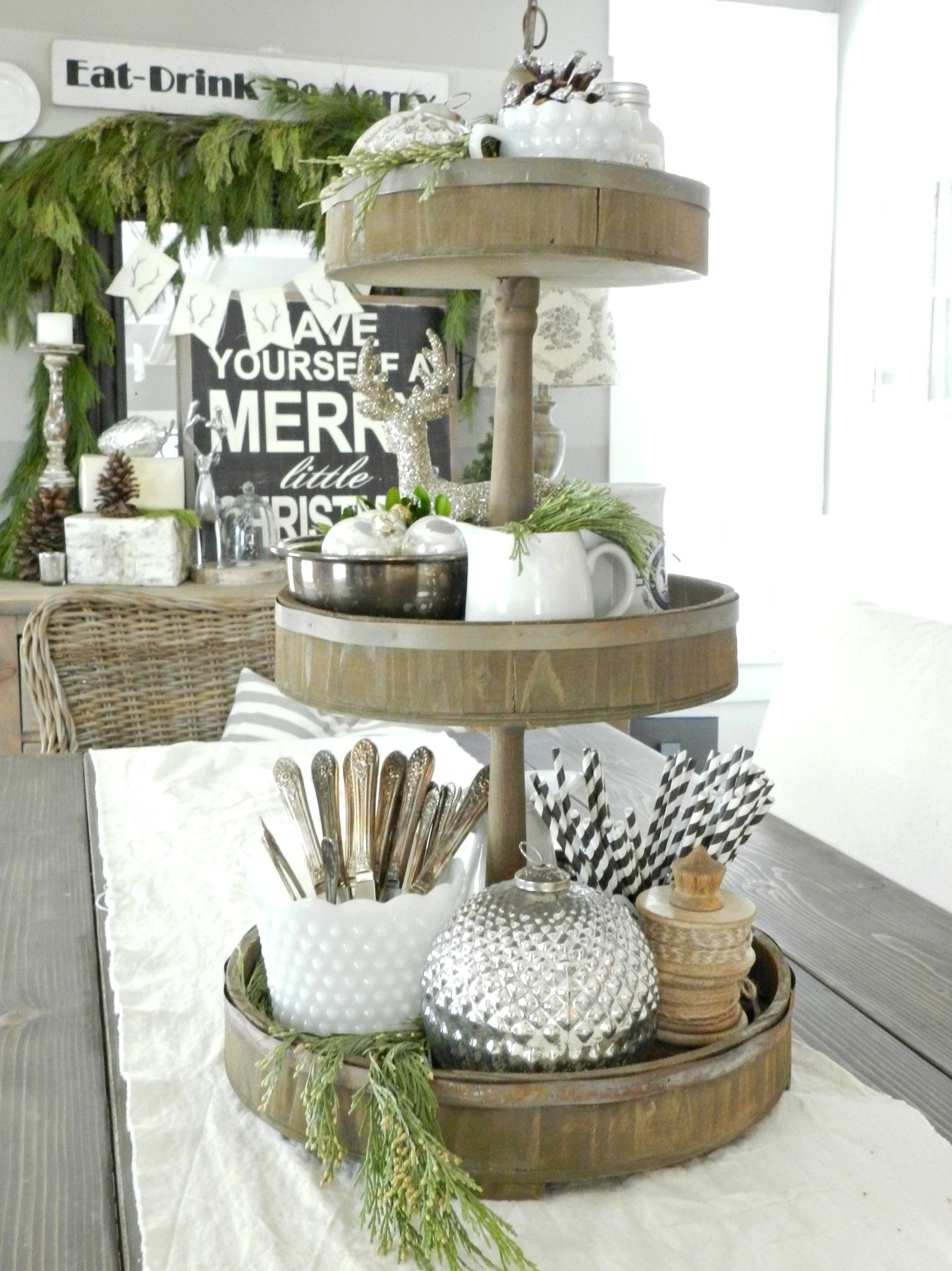 Rustic Farmhouse Perfection We Love Tiered Trays For Their Stunning Ability To Display All Of The Things We Love W Tiered Tray Decor Tiered Tray Tiered Stand