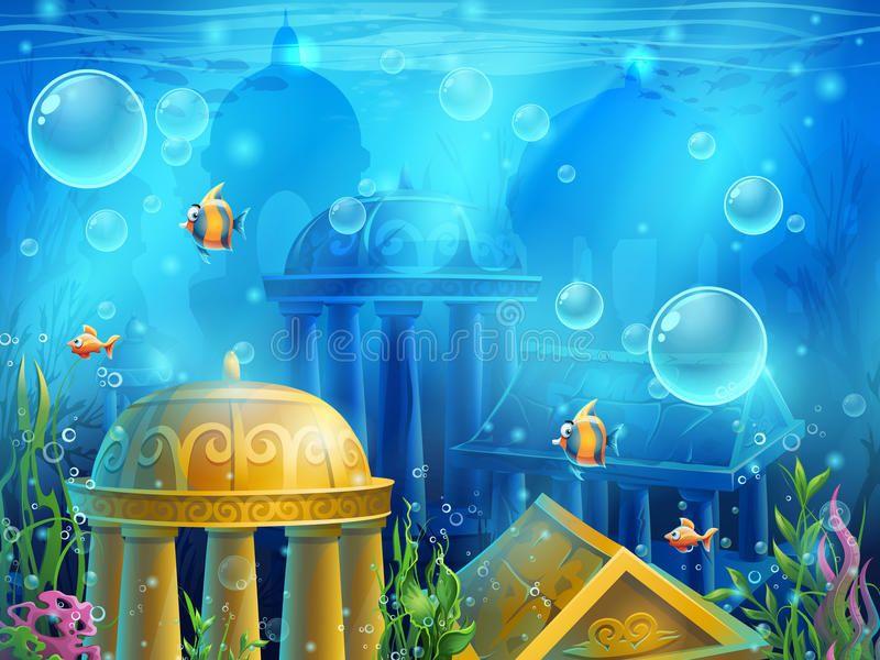 Atlantis Ruins - Vector Background Illustration Screen Stock Vector - Illustration of animal, background: 70795917 #fondecrannoel