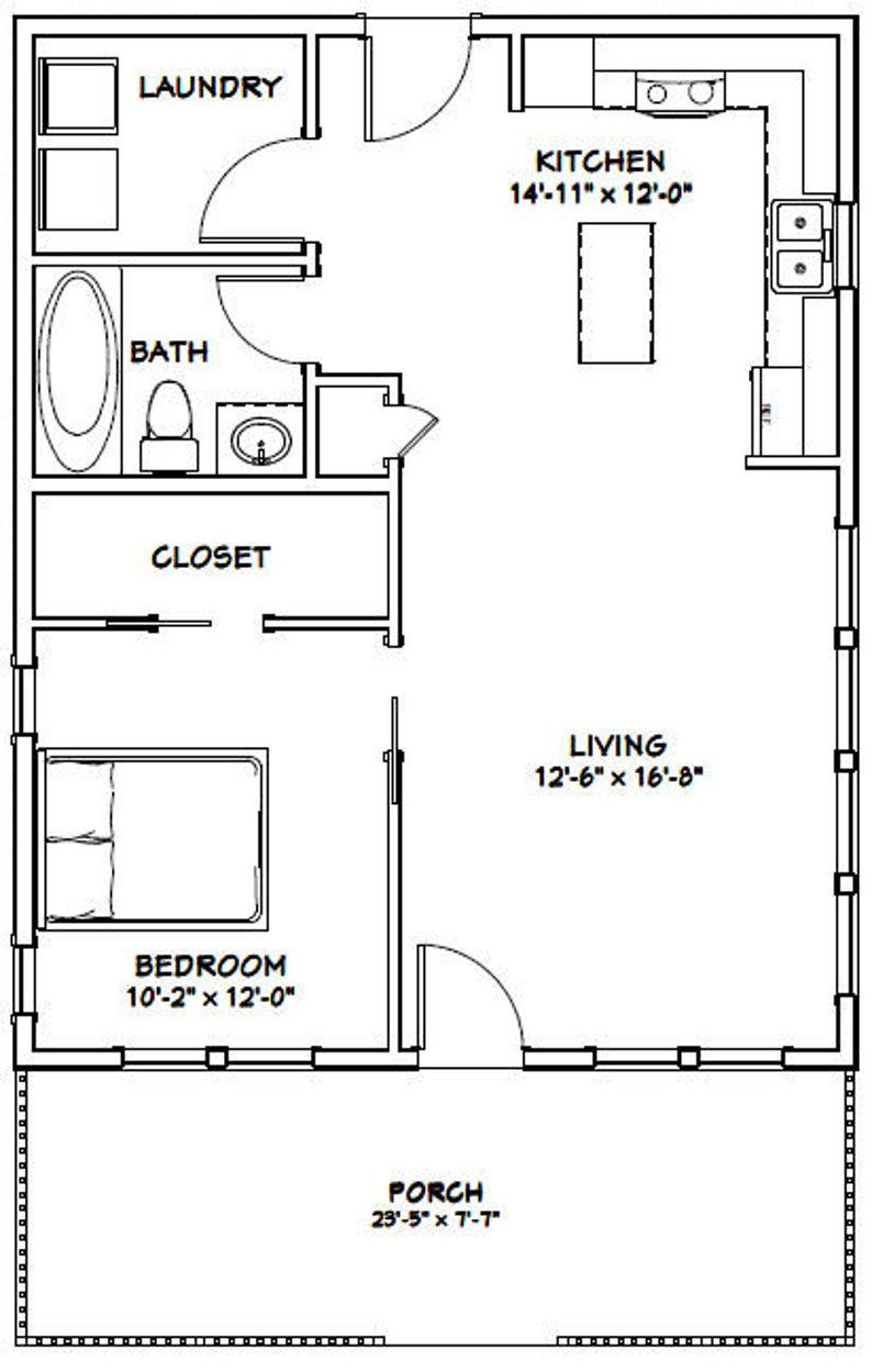 24x30 House 1Bedroom 1Bath 720 sq ft PDF Floor