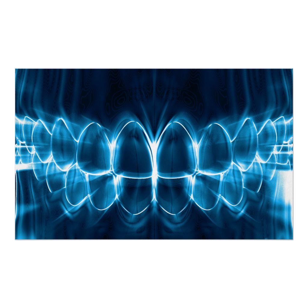 Glowing blue teeth dentist orthodontist poster zazzle
