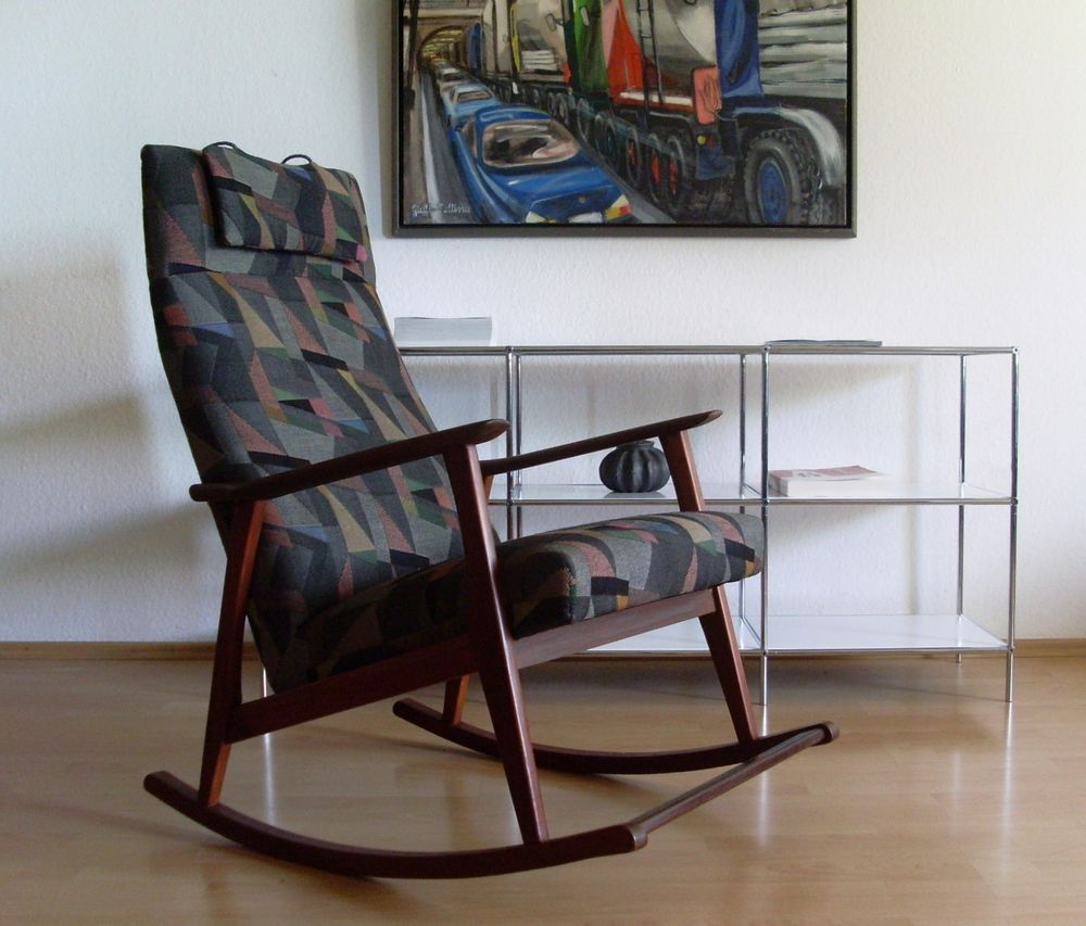 60er Teak Schaukelstuhl Rocking Chair danish design Mid Century Art Wegner
