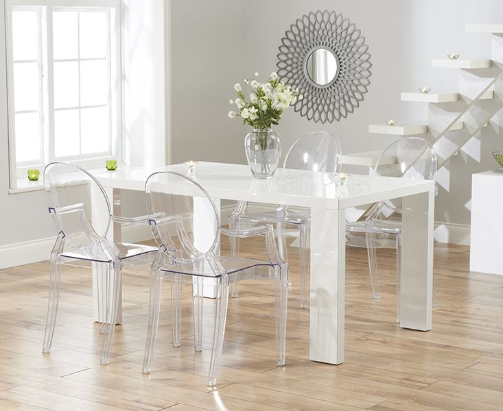 Monza 150cm White High Gloss Dining Table With Philippe Starck Style Ghost Chairs