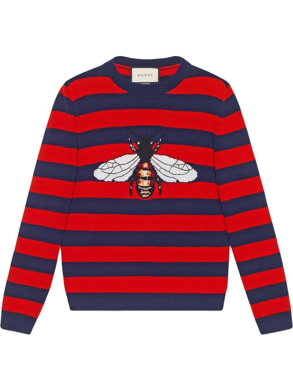 7b9accaa1 Gucci Striped wool sweater with bee - Blue in 2019 | Products | Men ...