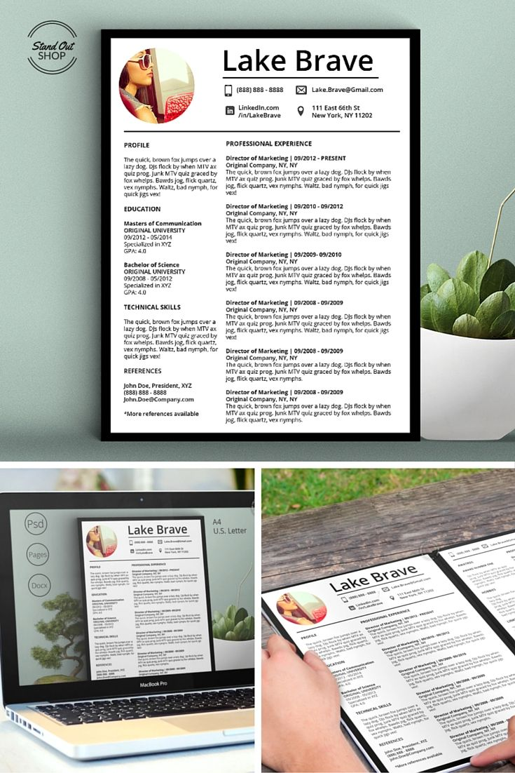 Modern Resume Template With A Photo And No Photo Version Matching