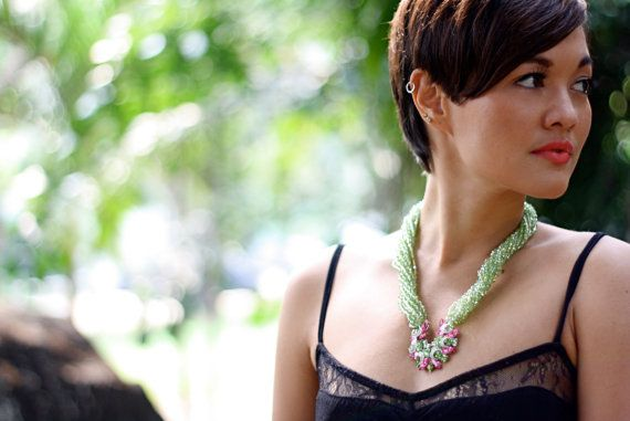 Uma Jewelry - Original Watermelon Crystal Necklace with Pendant  by UmaBoutique, $150.00