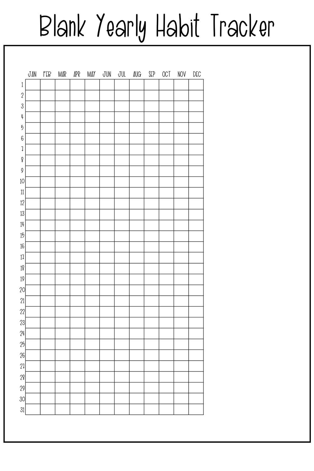 Yearly Habit Tracker Free Printable Track A Habit All Year Long Habit Tracker Bullet Journal Bullet Journal Habit Tracker Printable Habit Tracker Printable