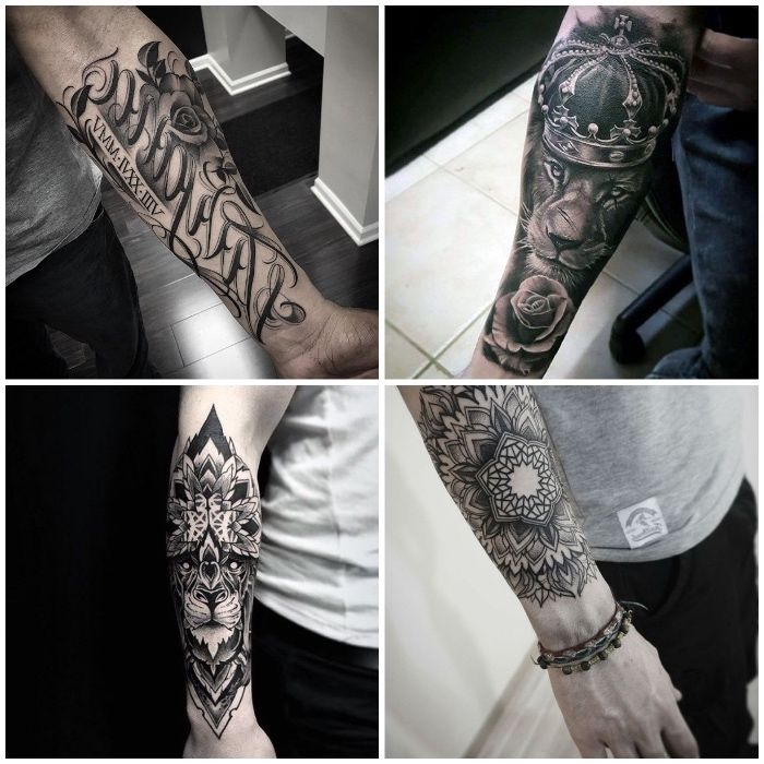 tattoo unterarm tattoo motive f r m nner l we mit krone mandala tattoo ideen tattoos