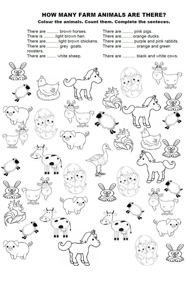 worksheet Farm Animals Worksheets For Grade 1 how many farm animals worksheets auditory processing and teaching animals