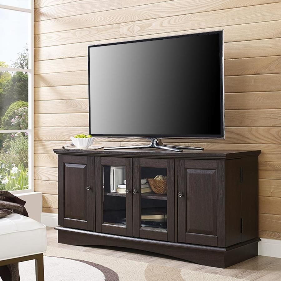 Amazon Com We Furniture Wood Tv Stand 58 Inch Espresso Entertainment Stands Tv Stand Wood Tv Stand With Storage Bedroom Tv Stand