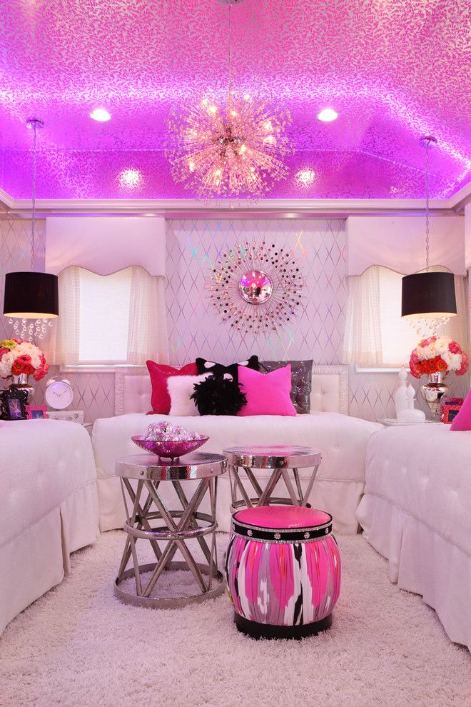 pink sparkle damask wallpaper ceiling decor Девчачьи