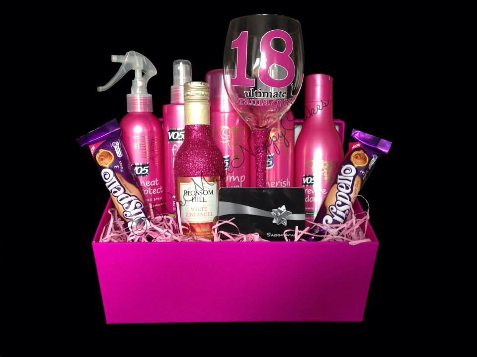 Girls Pink Glitter 18th Birthday Pamper Hamper Gift
