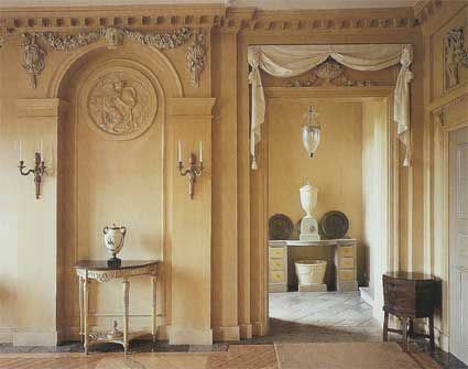 Swedish Neoclassical designs were light and simple interpretations of the much more ornate Louis XVI style of the French. Gustavian colours: light grey, pale blue or green were designed to reflect the light. Dark woods such as mahogany and walnut, were too heavy for the long, dark Scandanavian winters; and too expensive for most. Swedish cabinetmakers stained and painted local woods in white and pale grey; just as they still do today.