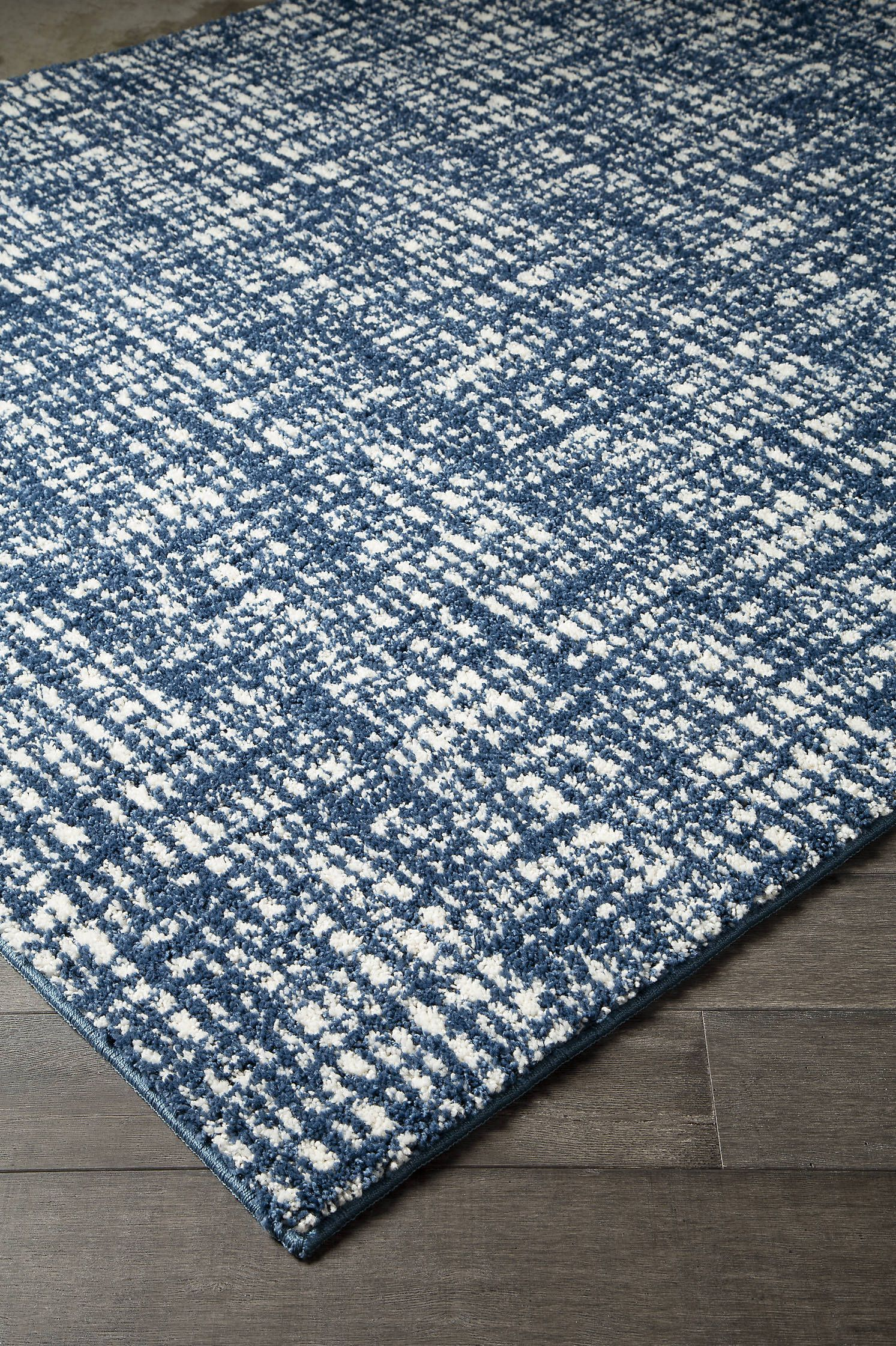 Norris Blue White Patterned Medium Rug Perfectly Imperfect Crosshatch Design Gives This Area Rug In Denim Blue And White A Navy And White Rug Rugs Large Rugs