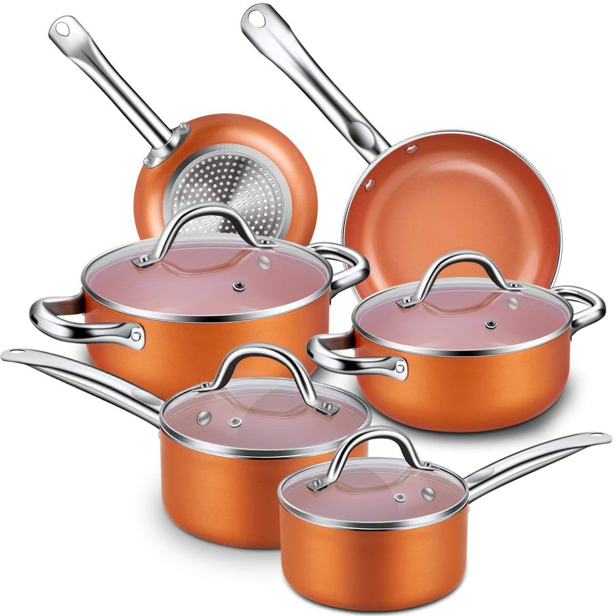 Cusinaid 10 Piece Aluminum Cookware Sets Pots And Pans Set Fry