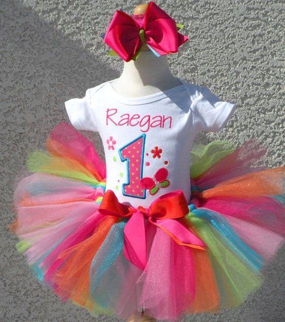 Rainbow Butterfly 1st Birthday Baby Tutu Set..would be so cute for a little girl too!