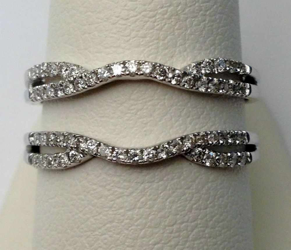 wedding band enhancers 14k White Gold Split Shank Solitaire Enhancer 0 35ct Diamonds Ring Guard Wrap