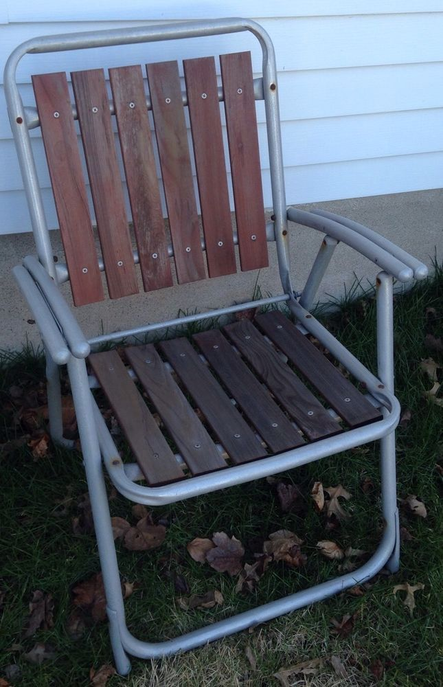 Genial Vintage REDWOOD Aluminum Folding LAWN CHAIR Metal Wood Patio   Tube Arm  Rests