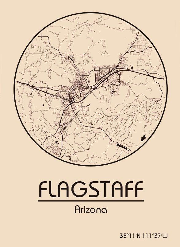 Karte Map Flagstaff Arizona Vereinigte Staaten von Amerika
