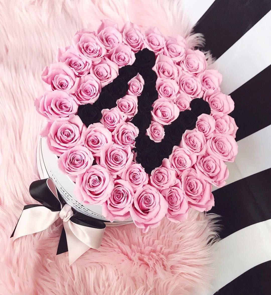 Gorgeous Customized Flowerbox Themillionroses Collection Design Style Blush Pink Black Roses Alphabet Tattoo Designs Flower Boxes Stylish Alphabets