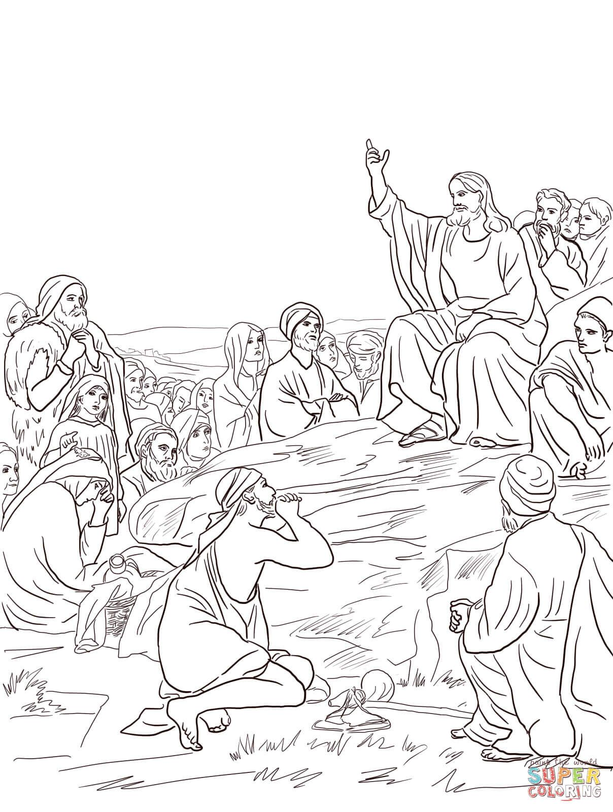 Jesus sermon on the mount super coloring