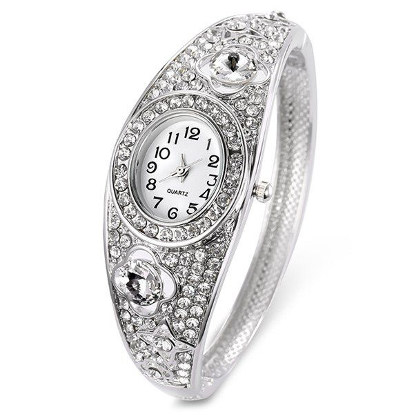 Floral Hollow Out Rhinestoned Bracelet Watch