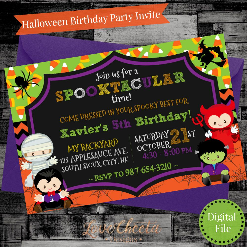 Adorable spooky kids Halloween birthday costume party invitation ...