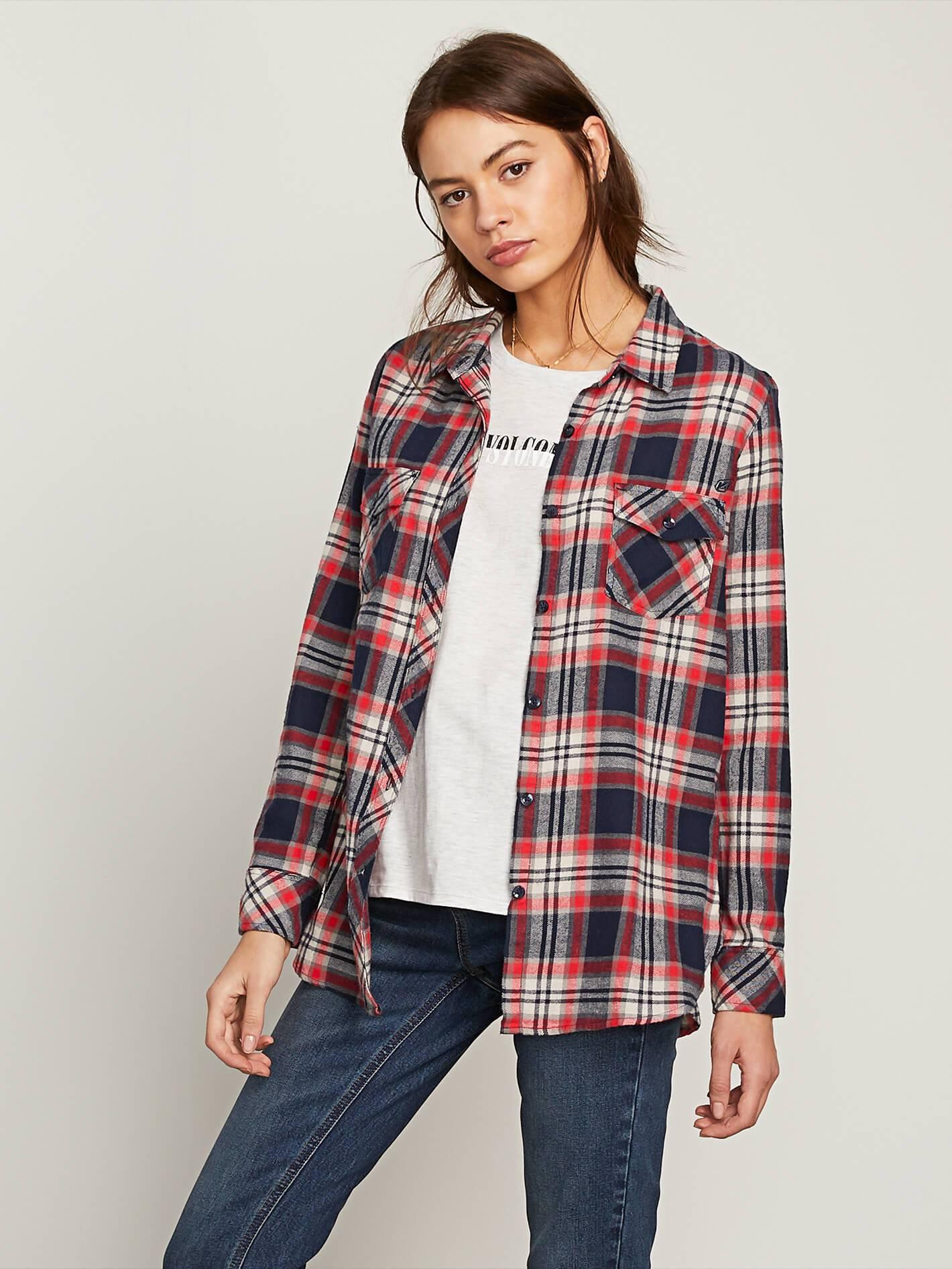 Volcom Womens Getting Rad Plaid Long Sleeve Flannel Shirt