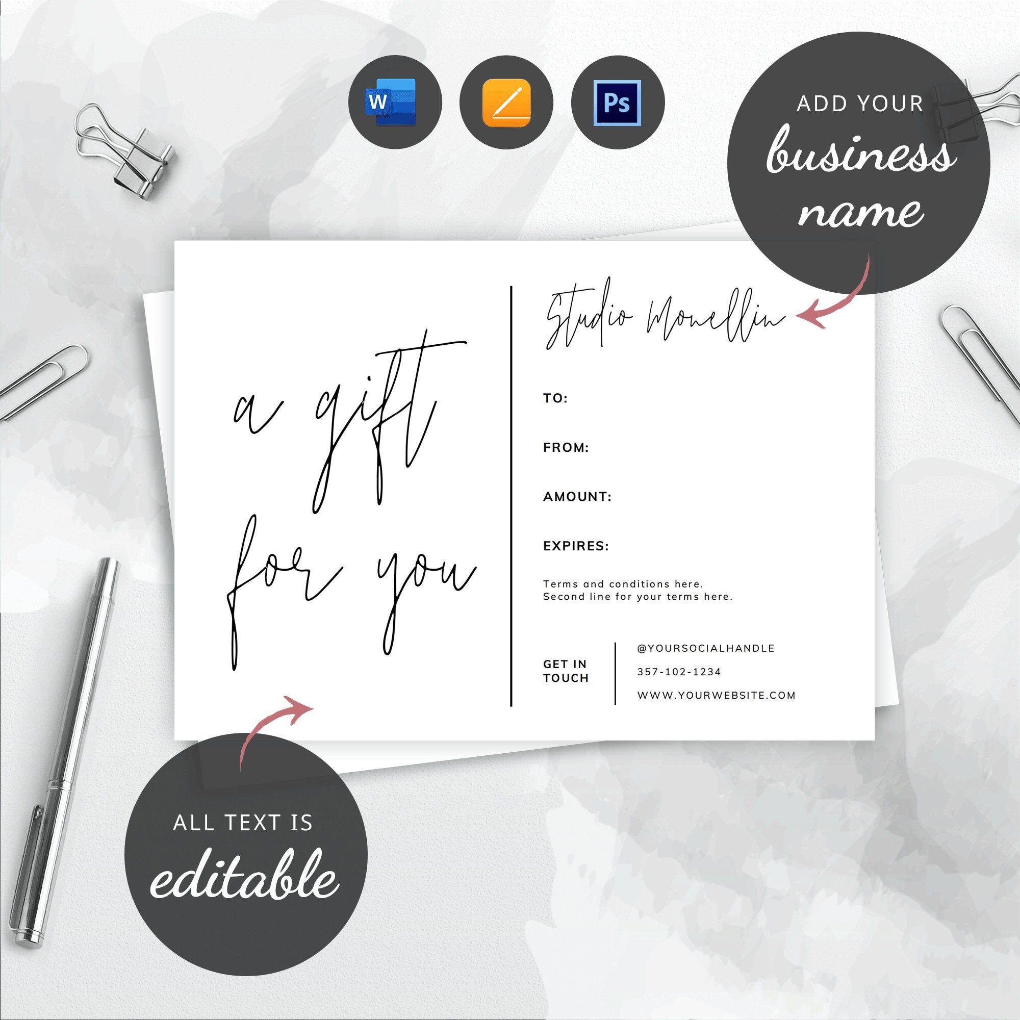 Printable Gift Certificate Template Minimalist Gift Card Etsy Printable Gift Certificate Gift Card Template Gift Certificate Template