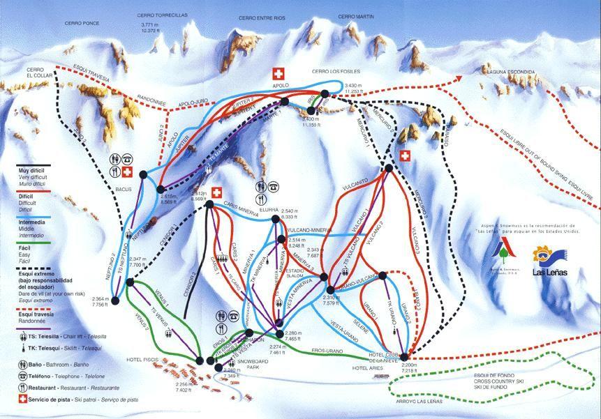 NL. Plattegrond van Las Leñas FR. Carte du domaine skiable Las Leñas DE.das Land des Las Leñas. EN. Las Leñas on a map