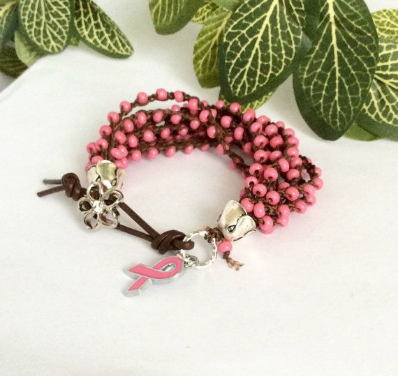 Pink Crochet Beaded Bracelet 10 Strand by BearCreekCollection