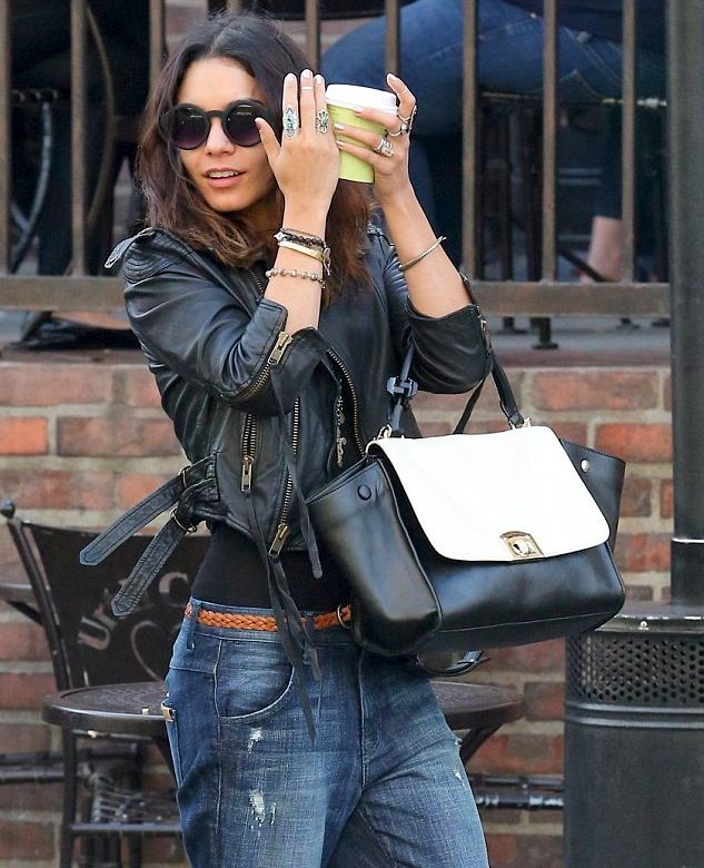 Vanessa Hudgens cropped leather jacket and skinny jeans street style