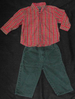 Adorable Children's Place outfit! Cute Red Plaid top with Matching forest green pants.Great for pictures or church! I promise the outfit looks much better than my pic depicts!