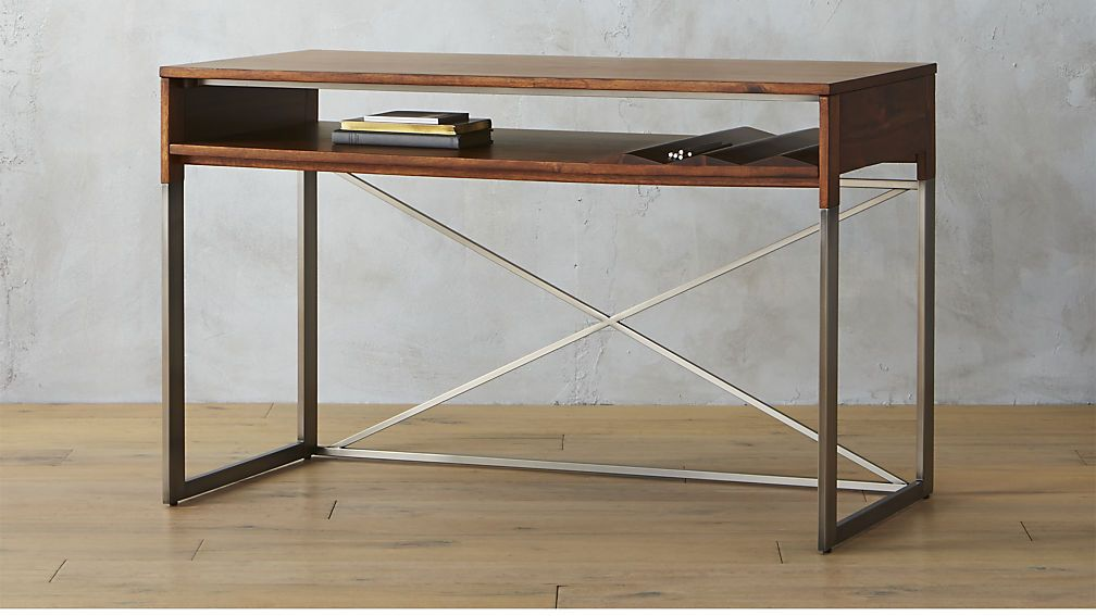 Saic Little Wave Desk By Cb2 Use This As A Vanity Wood And Metal Desk Rustic Wooden Desk Wooden Desk