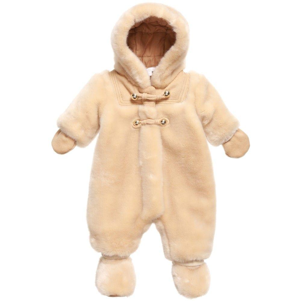 1ffed4d3c Chloé Baby Girls Beige Synthetic Fur Pramsuit at Childrensalon.com ...
