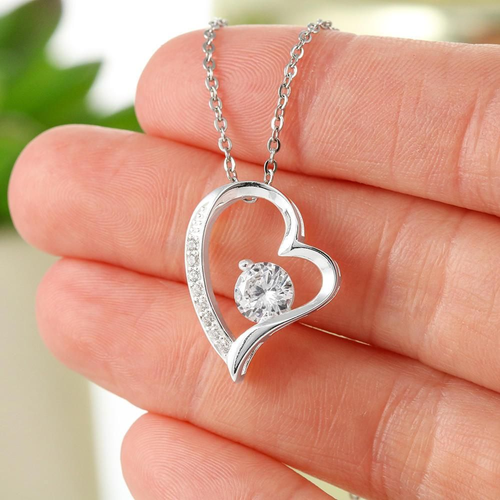 "Beautiful Heart Necklace With ""I Love You"" Message Card – 14k White Gold Finish"