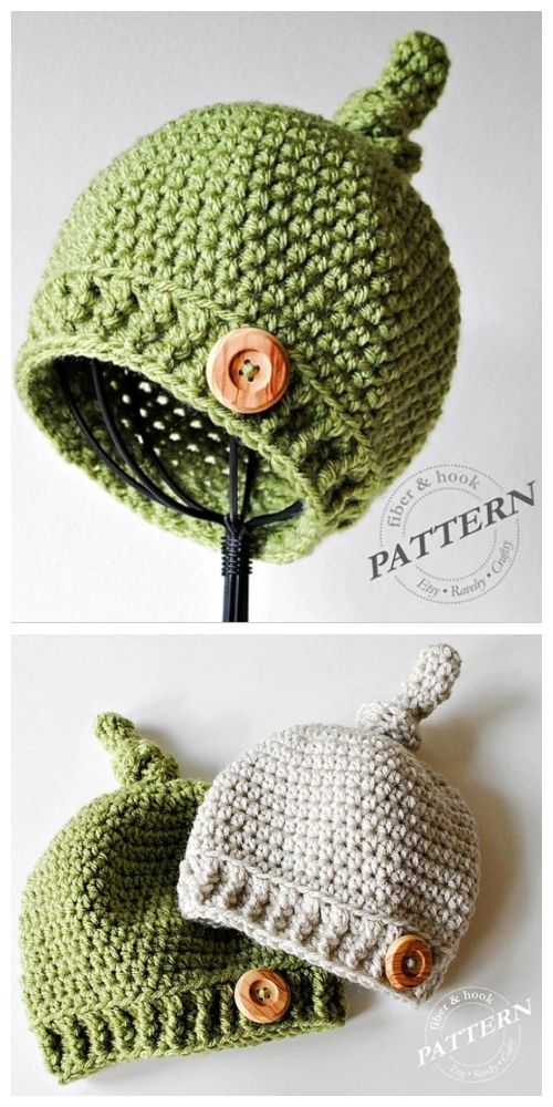 Baby Top Knot Hat Free Crochet Patterns & Paid - DIY Magazine #crochethatpatterns