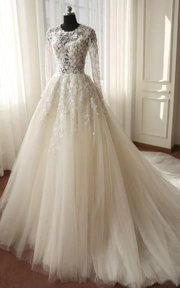 Long Sleeve A-Line Ball Gown Lace and Tulle Wedding Dress with Court T – DorrisDress #weddinggownlacesleeves #tulleballgown