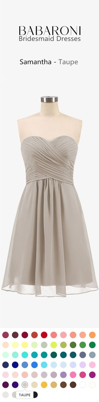 a557dd75f04 This chiffon dress features a sweetheart neckline with criss-crossed  ruching and A-line cut.  bridesmaid  taupe  wedding  prom  babaroni