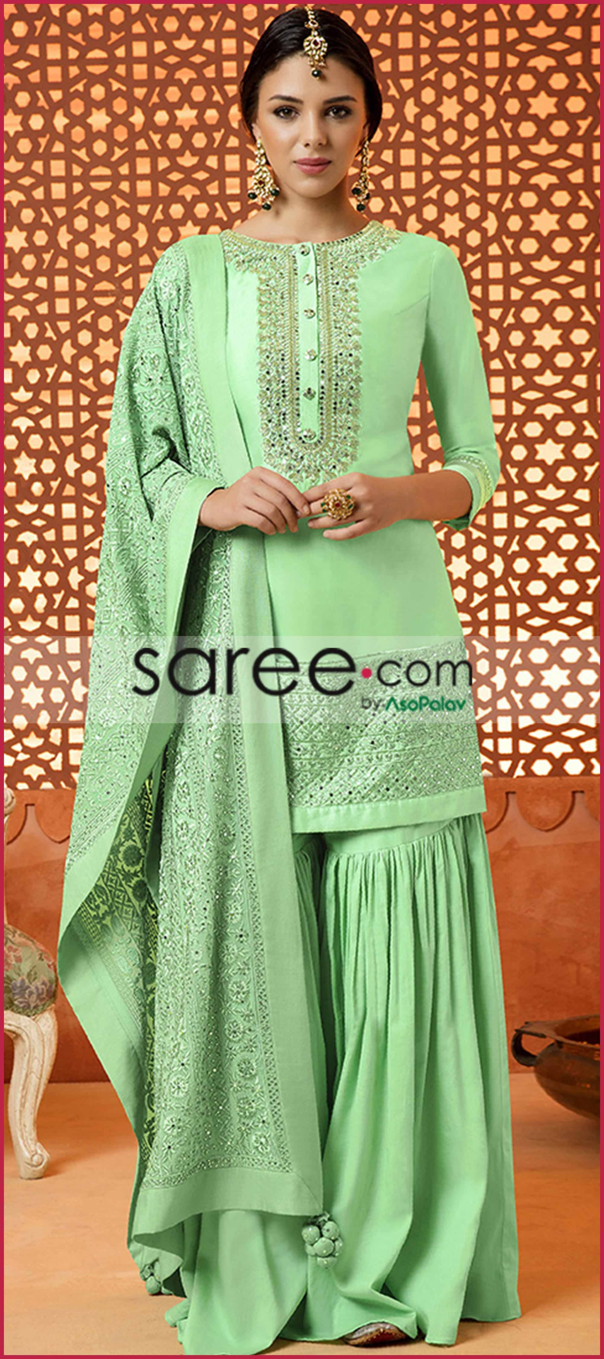 96fd99b1d5 Green Silk Sharara Suit With Embroidery | Pakistani Palazzo Dresses ...