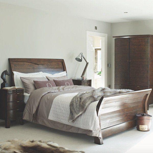 Winchester Dark Rustic Sleigh Wooden Bed Rustic Wooden Bed