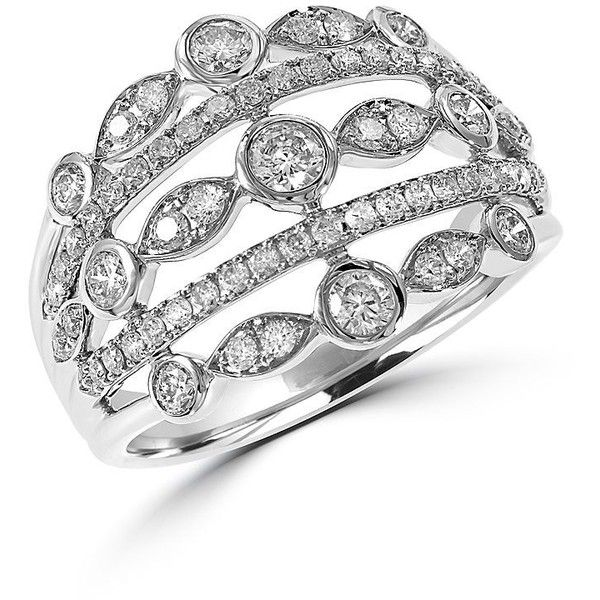 Effy Diamond and 14K White Gold Open Ring, 0.88TCW ($4,050) ❤ liked on Polyvore