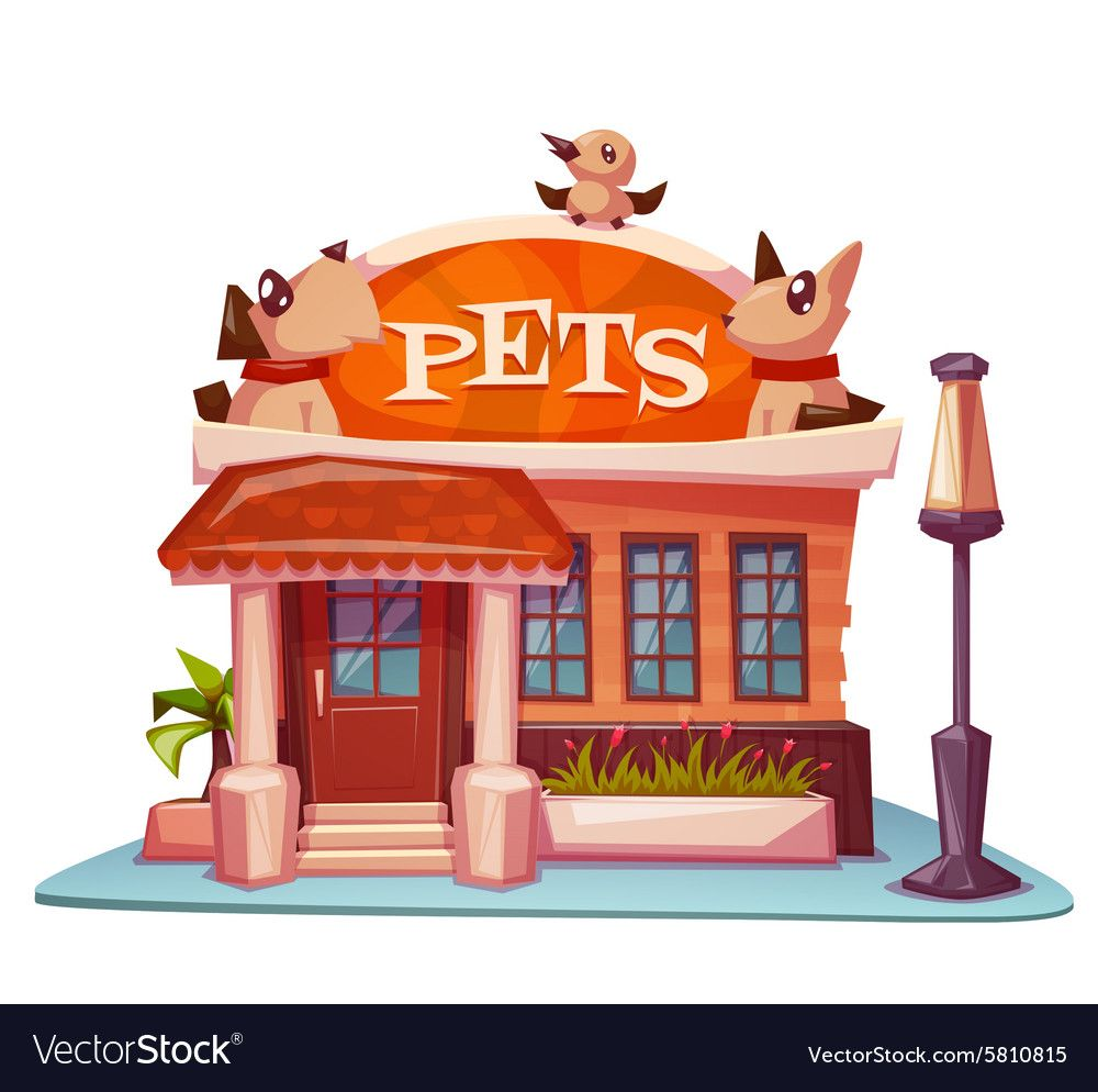 Pet Shop Building With Bright Banner Vector Image On Podarochnye