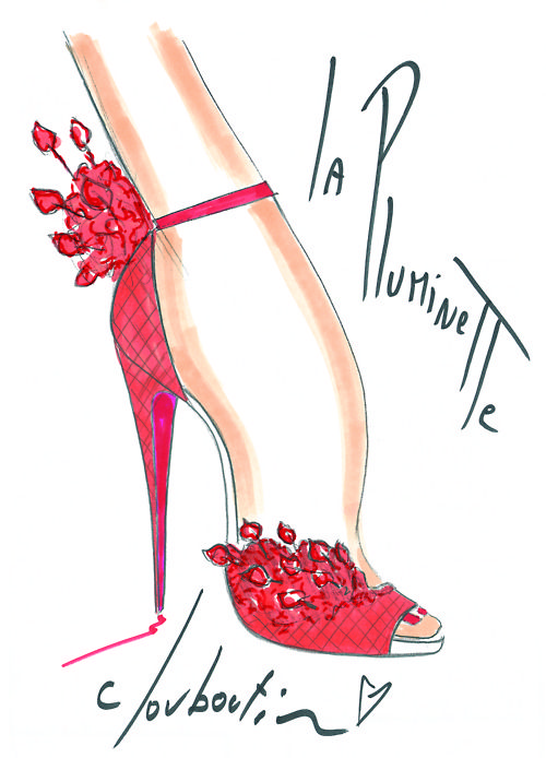 We're feeling the #NMLoubiLove today!  Click here to enter for your chance to win a pair of Christian Louboutin shoes. Illustration by Christian Louboutin.
