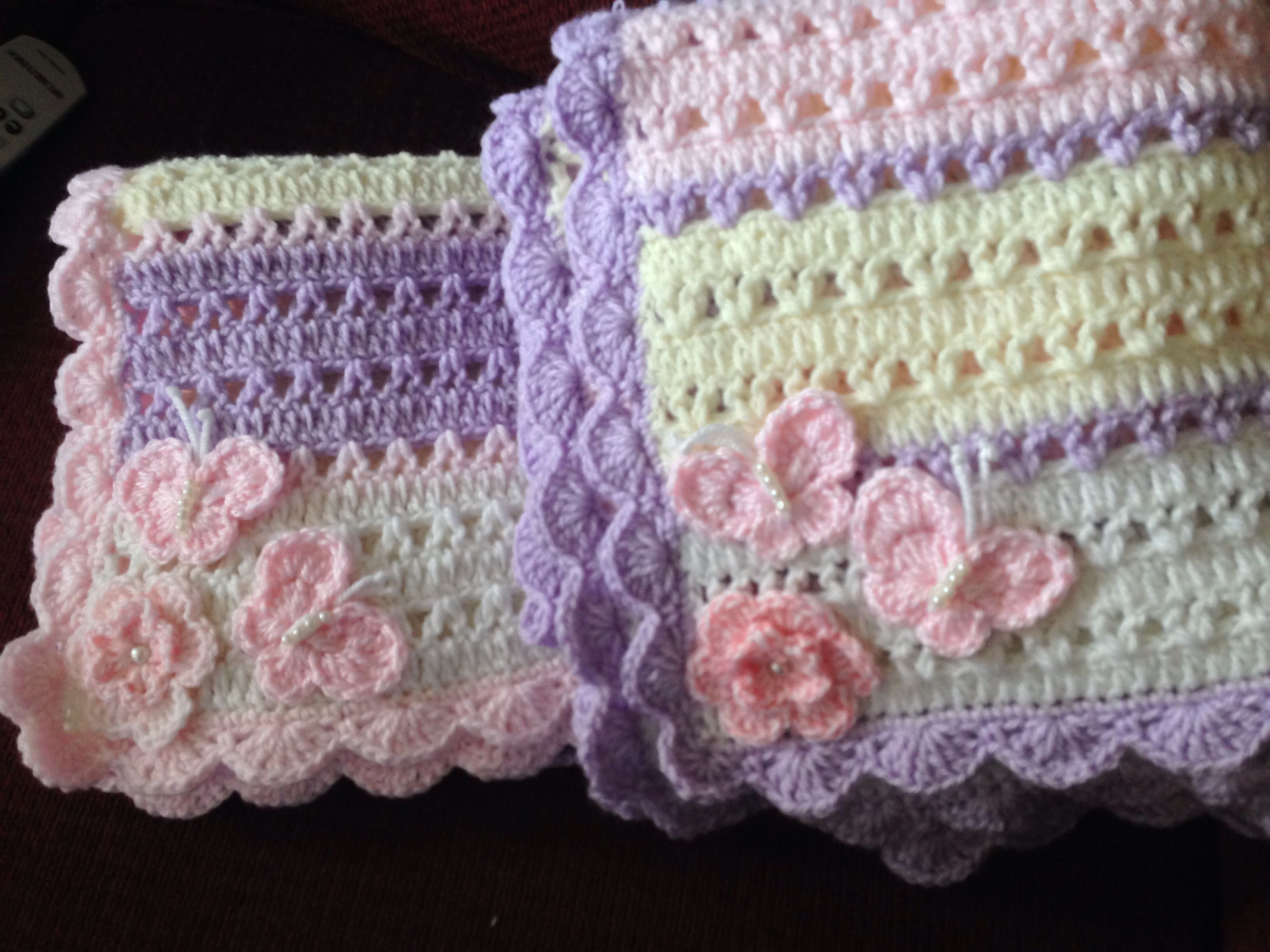 Butterflies and flower baby blankets | My knit and crochet stuff I ...